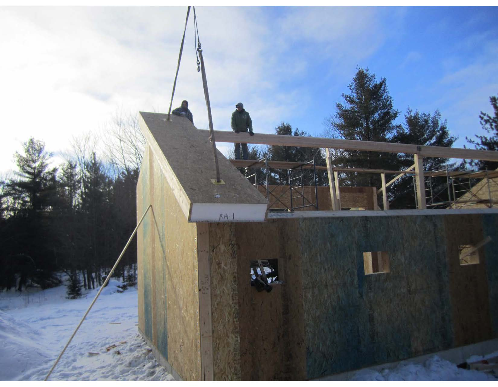 Aspley ON-7 Setting First Roof Panel